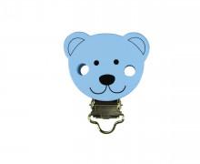 1 Schnullerclip - Bären - Holzclip - Blau