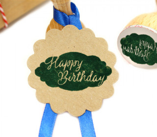 Stempel - Happy Birthday - Rund - Holzstempel