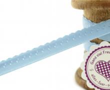 1m Faltgummi - Faltband - 12mm - Mini Herzen - Hellblau