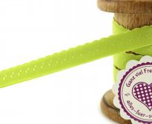 1m Faltgummi - Faltband - 12mm - Mini Herzen - Apfelgrün