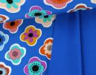 Softshell - Fleece - Blumen - Flower - Dunkelblau