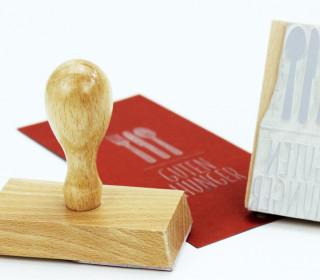Stempel - Guten Hunger - Besteck - Holzstempel