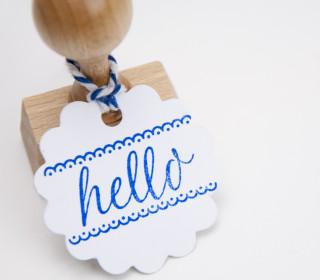 Stempel - hello - Holzstempel