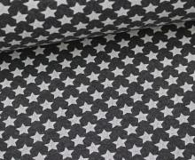 Glattes Bündchen - Große Sterne - Dunkelgrau