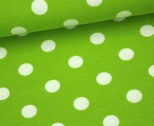 Jersey - Große Punkte - 1,5cm - Hellgrün