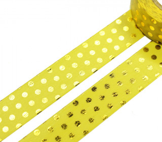 1 Rolle Masking Tape - Punkte -  Gelb/Gold