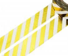 1 Rolle Masking Tape - Streifen -  Weiß/Gold