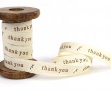 1 Meter bedrucktes Baumwollband - Thank you - Creme / Braun
