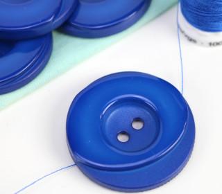 1 Knopf - 33mm - Rund - Stufen - Blau