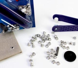 50 Ösen ohne Scheiben - Eyelets - Silber - 4mm