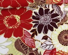 Viskose Leinen - Riesen Blüten - Rot