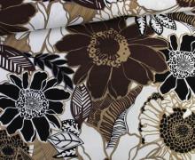 Viskose Leinen - Riesen Blüten - Braun