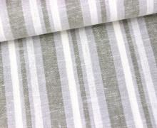 Viskose Leinen - Streifen - 15mm - Olivgrau