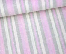 Viskose Leinen - Streifen - 15mm - Rosa
