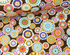 Softshell - Fleece - Mandala - Blumen - Dunkelbrau