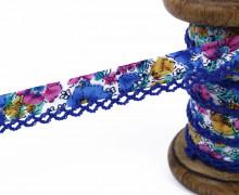 1m Schrägband - Häkelborte - Blumen - Royalblau