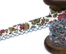 1m Schrägband - Häkelborte - Blumen - Pink/Hellblau