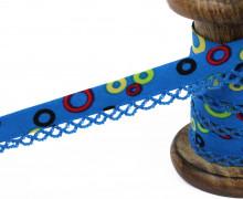1m Schrägband - Häkelborte - Kreise - Blau