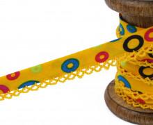 1m Schrägband - Häkelborte - Kreise - Gelb