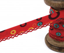 1m Schrägband - Häkelborte - Kreise - Rot