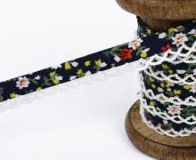 1m Schrägband - Häkelborte - Blumen - Nachtblau/Weiß