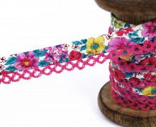 1m Schrägband - Häkelborte - Blumen - Pink/Blau