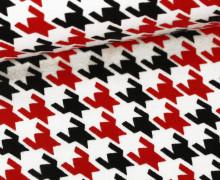 Baumwolljersey - Hahnentritt - Remix Knit - Robert Kaufman - Weiß/Rot