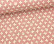 Canvas - Eulen - Kreuze - Animals - Tréfle - KOKKA - Altrosa