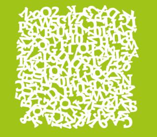 Schablone - Marabu - 30cm x 30cm - für Textilfarben - Mixed Alphabet