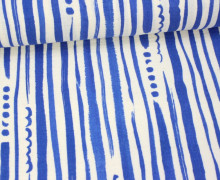 Stoff - Double Gauze - Streifen - KOKKA - Natur/Blau
