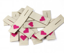 10 fertige Label - Reißverschluss - Zipper - Herz - Etiketten