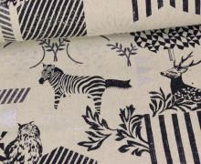 Canvas - Zebra - Hirsch - Echino - KOKKA - Natur/Silber