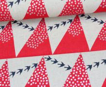 Canvas -Dreiecke - Vögel - Echino - KOKKA - Rot/Silber