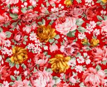 Baumwoll-Popeline - Rosen - Blüten - Blumen - Rot