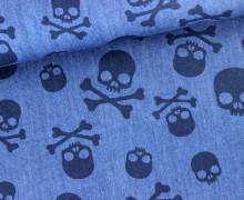 Baumwolle - Jeansoptik - Totenköpfe - Skulls - Jeansblau