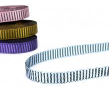 1 Meter Ripsband - 10mm - Glänzend - Streifen - Eisblau