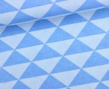 Dekostoff - Feste Baumwolle - Dreiecke - Geometrisch - Mittelblau/Hellblau