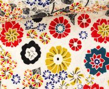 Stoff - Spitze - Blumen - Kreisel - Springtime - Transparent - Rot