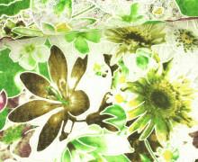 Stoff - Spitze - Blumen - Vintage - Springtime - Transparent - Grün