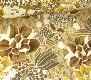 Stoff - Spitze - Blumen - Blätter - Springtime - Transparent - Braun