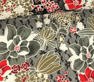 Stoff - Spitze - Blumen - Blätter - Springtime - Transparent - Grau