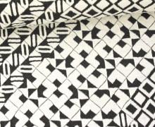 Jacquard - elastisch - Ethno Muster - Rauten - Schwarz/Natur