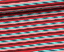 Viskose Jersey - Schmale Streifen - Rot/Hellblau