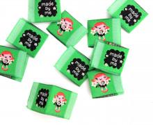 10 fertige Label zum EINNÄHEN - Made By Me - Blumenmädchen - Grün