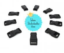 10 Steckschnallen - 10mm - Kunststoff - Schwarz