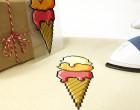 1 Bügelbild - Ice Cream - 72ppi - Eiswaffel - Hamburger Liebe - Aufbügler