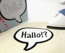 1 Bügelbild - Hallo!? - Sprechblase - Hamburger Liebe - Aufbügler