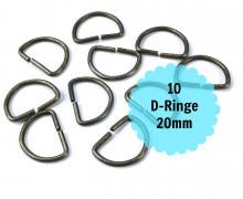 10 D-Ringe - Taschenringe - 20mm - Anthrazit