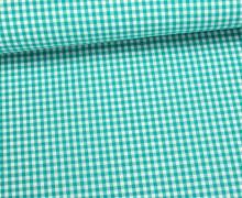 Baumwollstoff - Mini Karos - 150cm - Petrol/Weiß