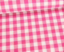 Baumwollstoff - Kariert - 150cm - Pink/Weiß